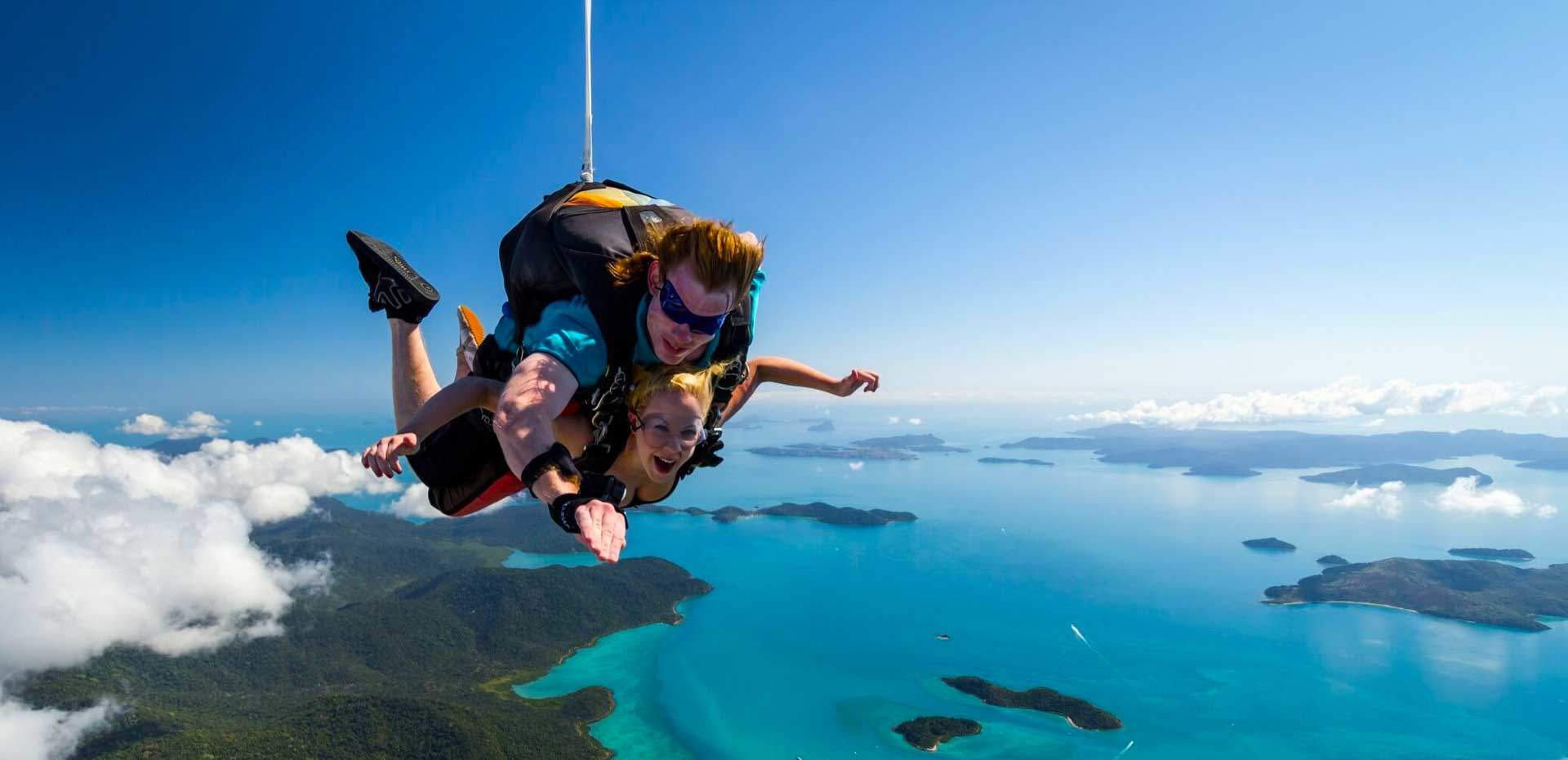 freefalling on a skydive from airlie beach