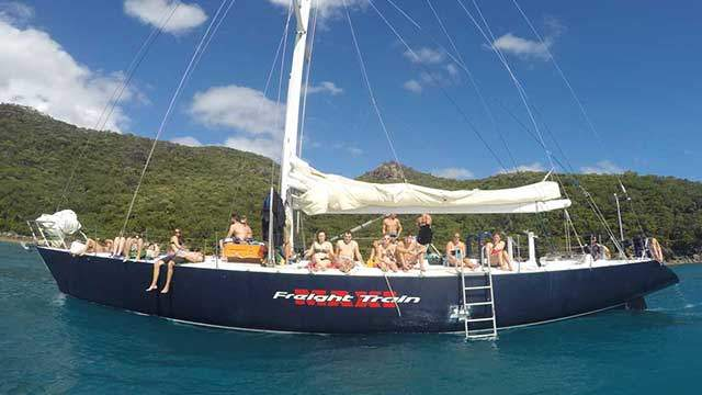 Image result for sailing yacht friegt train