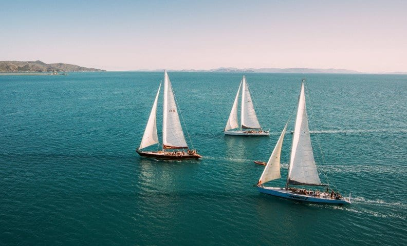 Hammer Whitsundays with other prosail boats sailing