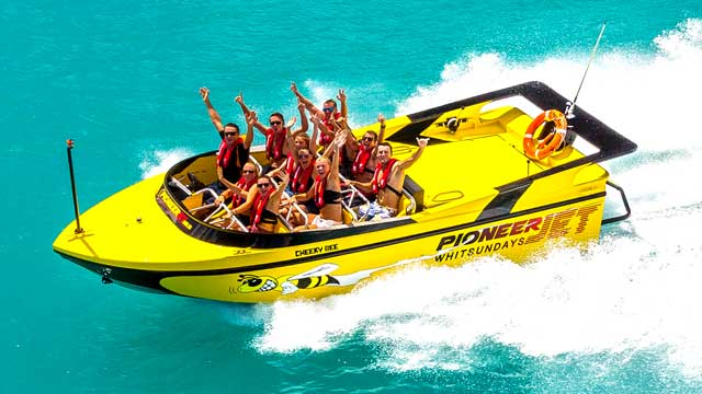 Guests riding on a Airlie Beach Jet Boat Tour