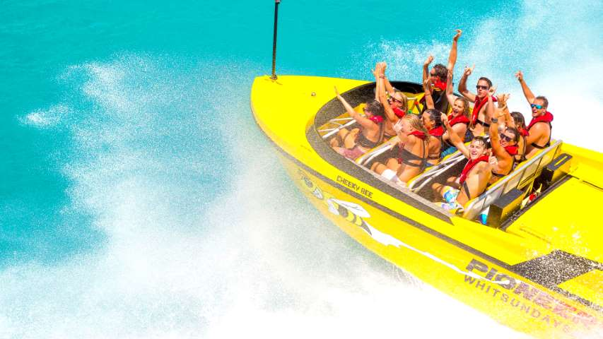 Airlie Beach Jet Boat Tour with guests haveing a fun time