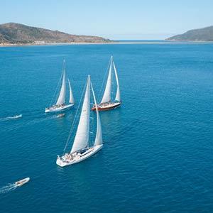 Three Prosail boats sailing towards the Whitsunday Islands